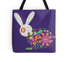 Floral patterned rabbit Tote Bag