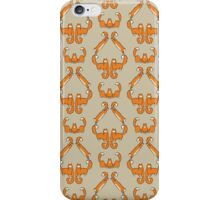 Cat damask in brown iPhone Case/Skin
