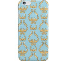 Cat damask blue iPhone Case/Skin