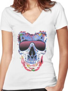 Skull color Women's Fitted V-Neck T-Shirt