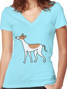 Proud Greyhound - brown and white Women's Fitted V-Neck T-Shirt