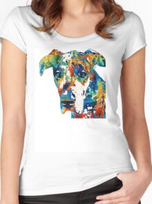 Colorful Great Dane Art Dog By Sharon Cummings Women's Fitted Scoop T-Shirt