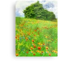 Hillside With Flowers And Trees Metal Print