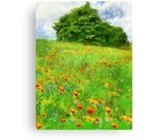 Hillside With Flowers And Trees Canvas Print
