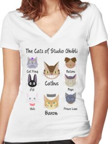 THE CATS OF STUDIO GHIBLI Women's Fitted V-Neck T-Shirt