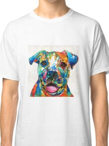 Colorful Dog Pit Bull Art - Happy - By Sharon Cummings Classic T-Shirt