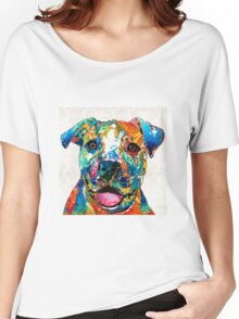 Colorful Dog Pit Bull Art - Happy - By Sharon Cummings Women's Relaxed Fit T-Shirt