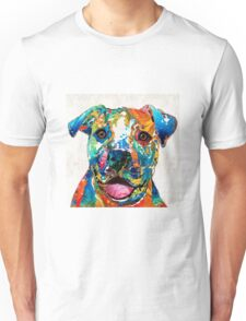 Colorful Dog Pit Bull Art - Happy - By Sharon Cummings Unisex T-Shirt