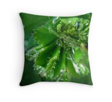 Green droplets of Pure Spring Throw Pillow