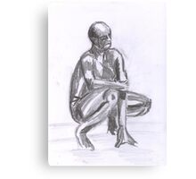 Naked Man, study in Pencil Canvas Print