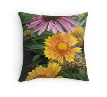 Coneflower and Indian Blankets Throw Pillow