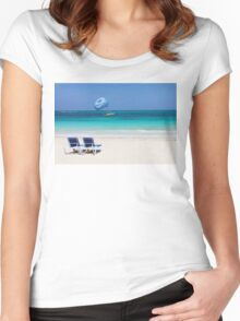 Dive boat in Curacao, Dutch Antilles Women's Fitted Scoop T-Shirt