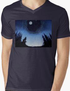 Wolf Moon Mens V-Neck T-Shirt
