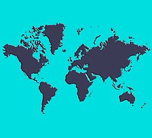World Splatter Map - nturquoise by Mark McKinney