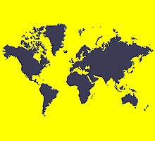 World Splatter Map - true yellow by Mark McKinney