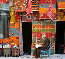 Morning Read, Carpet Shop, Essaouira by AlainKhouri