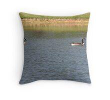 Geese on a Lake Throw Pillow