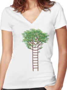 Ladder Tree Women's Fitted V-Neck T-Shirt