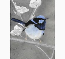Blue Wren Pencil Drawing Gouache Painting Unisex T-Shirt
