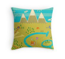 Font Mountains Throw Pillow