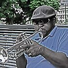 The trumpet man at the river front by Turtle6