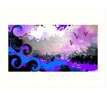 waves and birds Art Print