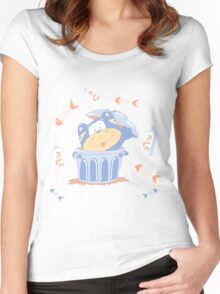 Funny blue kitten Women's Fitted Scoop T-Shirt
