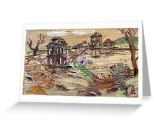 Ruined Structure Near Pond Greeting Card