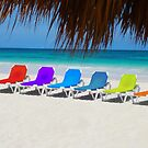 Rainbow chairs in Orient Bay, Sint Maartin, Caribbean Sea by Bruno Beach