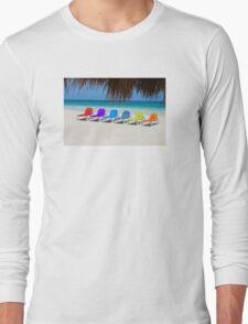 Rainbow chairs in Orient Bay, Sint Maartin, Caribbean Sea Long Sleeve T-Shirt