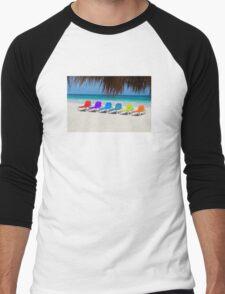Rainbow chairs in Orient Bay, Sint Maartin, Caribbean Sea Men's Baseball ¾ T-Shirt
