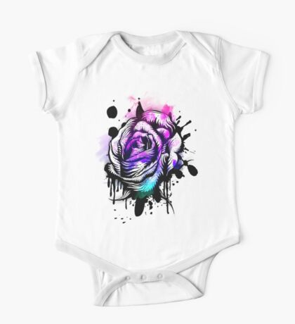 Painted Rose Tee Graphic One Piece - Short Sleeve
