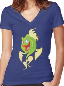 Smiling cartoon fish Women's Fitted V-Neck T-Shirt