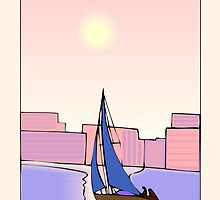Sailboat on Water with City View by SandraRose