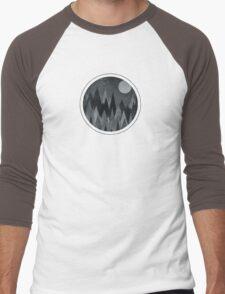 Dark Mystery Abstract Geometric Triangle Peak Wood's (black & white) Men's Baseball ¾ T-Shirt