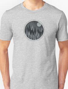 Dark Mystery Abstract Geometric Triangle Peak Wood's (black & white) Unisex T-Shirt