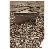 Beached boat - Beer Devon Poster