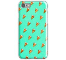 Cool and Trendy Pizza Pattern in Super Acid green / turquoise / blue iPhone Case/Skin