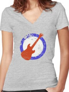 Guitar Mod Distressed Women's Fitted V-Neck T-Shirt