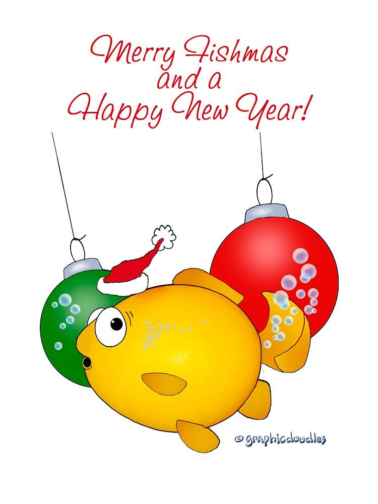 Christmas Goldfish cartoon Merry Fishmas by graphicdoodles