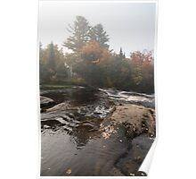 Foggy Fall Waterscape - the Rushing River Poster