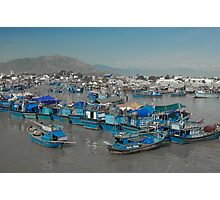Blue Fishing Boats in Nha Trang Photographic Print