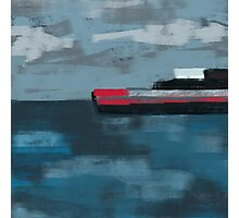 Cargo ship, cloudy day Photographic Print