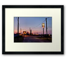 Cross-over light, Dungeness with pub Framed Print
