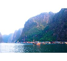 Fishing Boat Village in Halong Bay Photographic Print