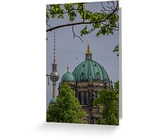Germany. Berlin. Cathedral Domes and TV Tower. Greeting Card