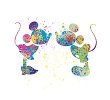 Watercolour Mickey and Minnie  Photographic Print