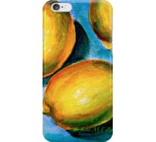 Lemons on Blue Canvas iPhone Case/Skin