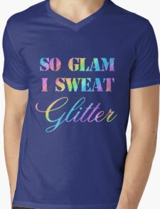 SO GLAM I SWEAT GLITTER Mens V-Neck T-Shirt