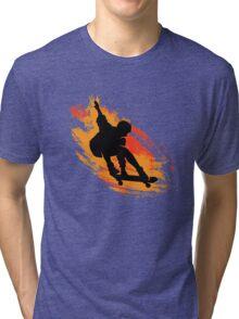 Skater - Skate Paint Brushes Distressed Design Tri-blend T-Shirt